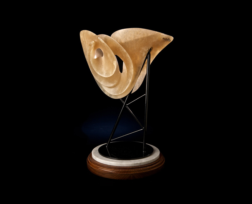Mixed Media Sculpture - Unexpected Support - Alabaster and Steel