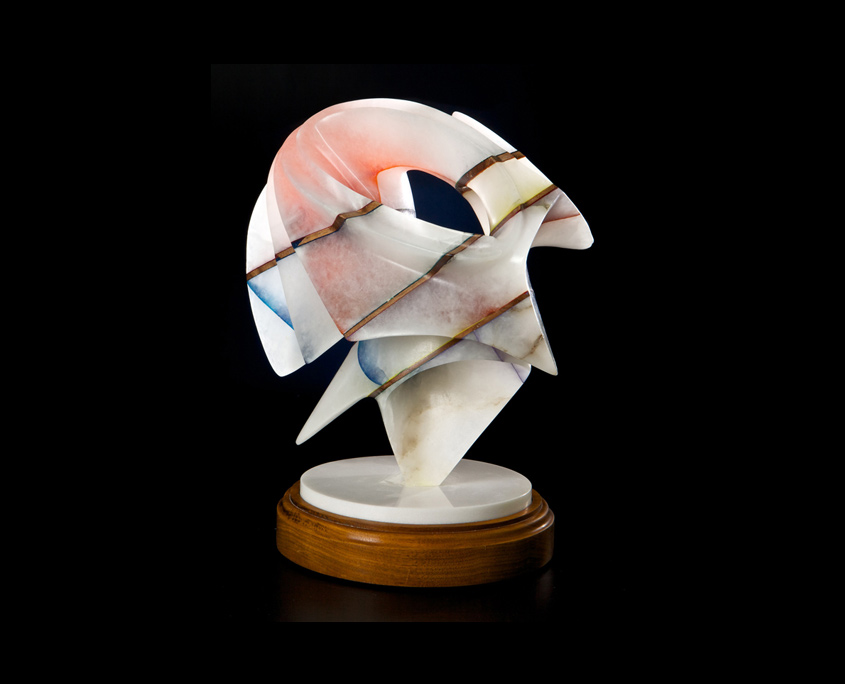 Laminated Alabaster Sculpture - In a Heart Beat by Brian Grossman