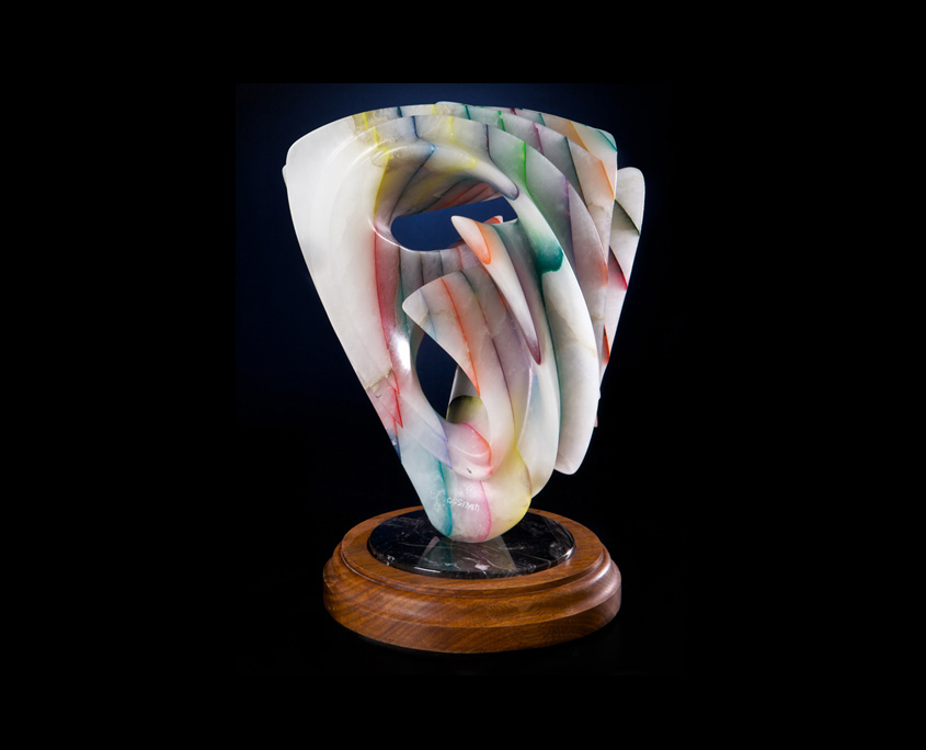 Laminated Alabaster Sculpture - Playing in Rainbows II by Brian Grossman