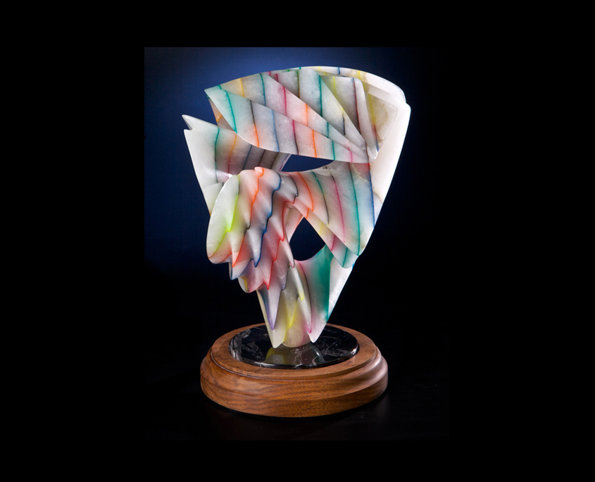 Laminated Alabaster Sculpture - Playing in Rainbows II by Brian Grossman - View 2