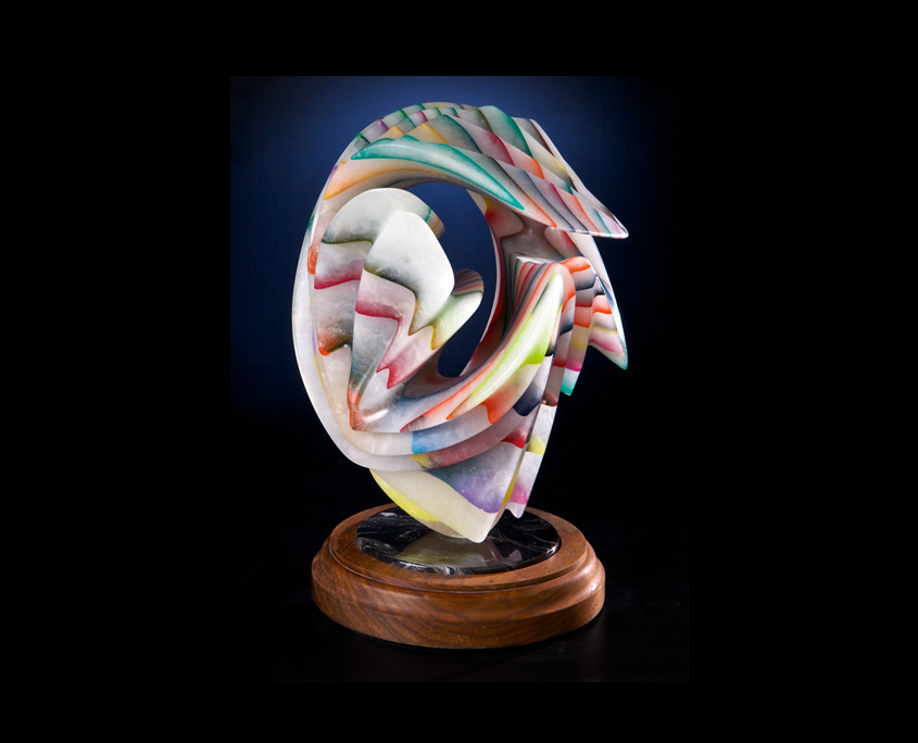 Laminated Alabaster Sculpture - Playing in Rainbows II by Brian Grossman - View