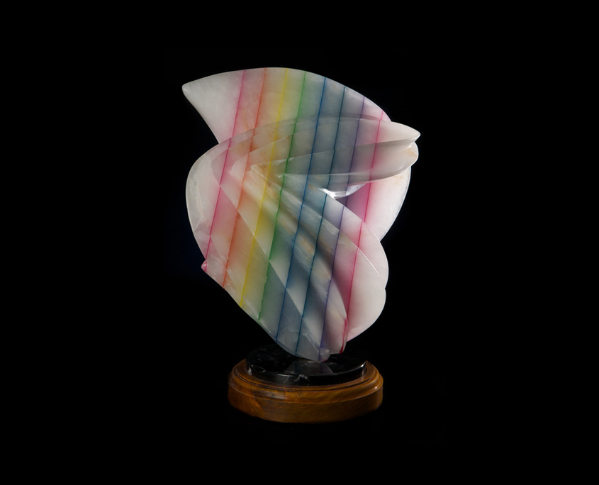Laminated Alabaster Sculpture - Playing in Rainbows by Brian Grossman