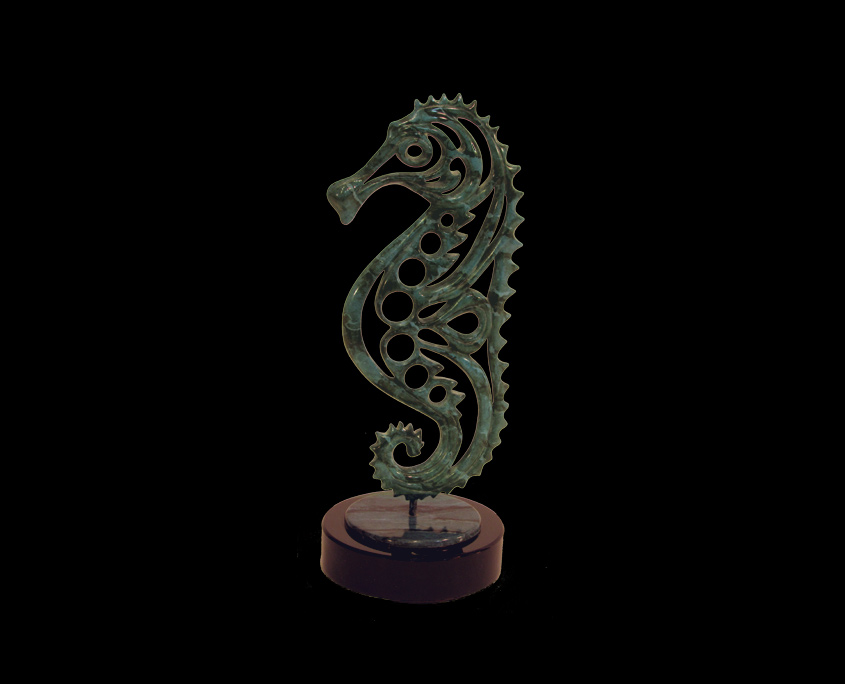Bronze Sculpture - Seahorse by Brian Grossman